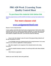 prg 420 quality control sheet