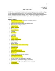 SOC 100 Study Guide (teacher)