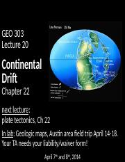 20_continental drift_posting geo 303 lecture 20