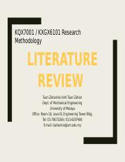 Research Methodology - Week 6 Literature review