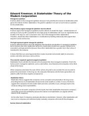 Edward Freeman A Stakeholder Theory of the Modern Corporation