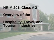 Overview of Hospitality, Travel, Tourism