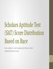 Scholars Aptitude Test (SAT) Score Distribution