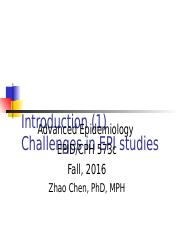1.1 Introduction--Challenges in EPI studies