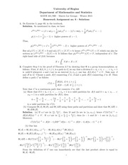 MATH 401 Winter 2015 Assignment 6 Solutions