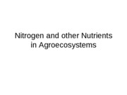 8 - Nitrogen and Other Nutrients in Agroecosystems