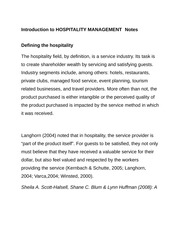 Introduction to HOSPITALITY MANAGEMENT Notes