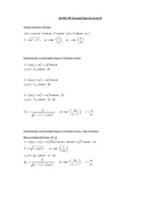 Exam 2 Formulas on Mechanical Vibrations and Control