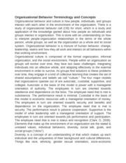 organizational behavior terminology paper