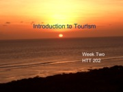 Week Two Introduction to Tourism lecture