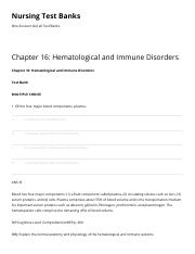 Chapter 16 Hematological and Immune Disorders Nursing Test Banks.pdf