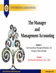 Lecture 1 The Management and Management Accounting