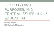 EDUCATION 50: Origins of K-12 Education Lecture (Jenner)