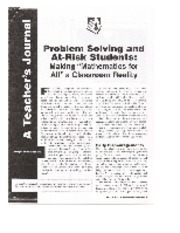 Problem Solving and At-Risk Students by Roberts