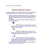 CH 12 KINETIC MOLECULAR THEORY SUPPLEMENT