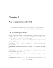 Chapter 1 Notes - Unmeasurable Sets