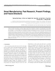 Smart Manufacturing Past Research Present Findings and Future Directions