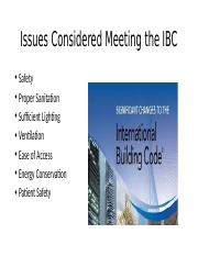 Issues Considered Meeting the IBC.pptx