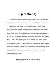 Duties - Spirit Meeting and Recognition of Students