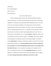 Comp II - Life to Death Essay