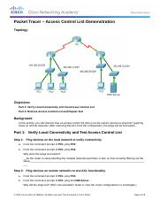 7.1.1.4 Packet Tracer - ACL Demonstration Instructions.docx