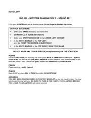 Bio 201 Exam 3 Version 0