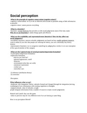 Notes on Social perception