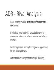 ADR Rival analysis