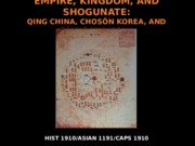 Lecture 2.1 - Empire, Kingdom, and Shogunate (2)