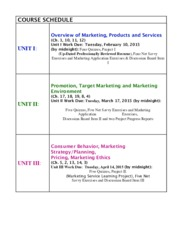 COURSE SCHEDULE Marketing