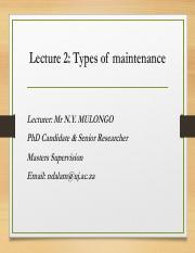 Lecture 3 Maintenance Management System (1) pdf - Lecture 3