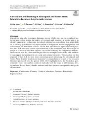 Harrison et al 2019 Curriculum and learning in Aboriginal and Torres Strait Islander education- A sy