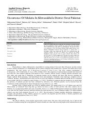 Occurrence Of Malaria In Khwazakhela District Swat Pakistan.pdf