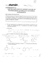 Lab 12 Preparation of Aspirin and Oil of Wintergreen