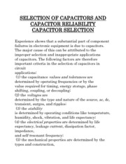 SELECTION OF CAPACITORS AND CAPACITOR RELIABILITY