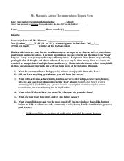 recommendation form
