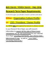 BUS 316 - Term Paper Requirements =  FALL 2016