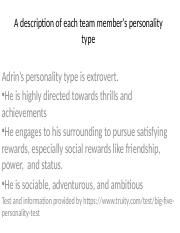 A description of each team member's personality type.pptx