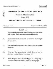 (www.entrance-exam.net)-IGNOU Diploma in Paralegal Practice - Introduction to Laws Sample Paper 2.pd