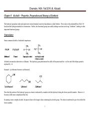 Chem 140A Lecture Notes  Fall 2016 Chapter 8 Alcohols – Properties, Preparation and Strategy of Synt