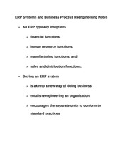 ERP Systems and Business Process Reengineering Notes