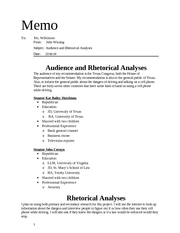 Audience and Rhetorical Analyses
