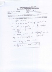 MTH 205-Solution-Test-01-A-SU09