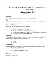 Introduction to Computing - CS101 Fall 2005 Assignment 03