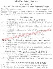 Past Papers 2012 LLB Part 2 Law of Transfer of Property Paper 4