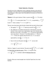 Notes on Taylor Series for a Function