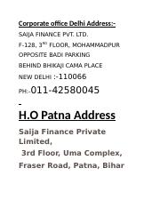 Corporate office Delhi Address.docx