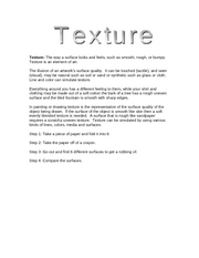 Art and Music- Texture Lesson- Handout