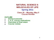 MOL CLASS 26 -  Course Review (class notes S11)