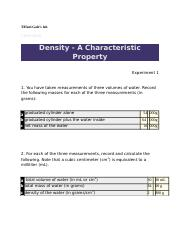 Lab 6 - Density  A Characteristic Property